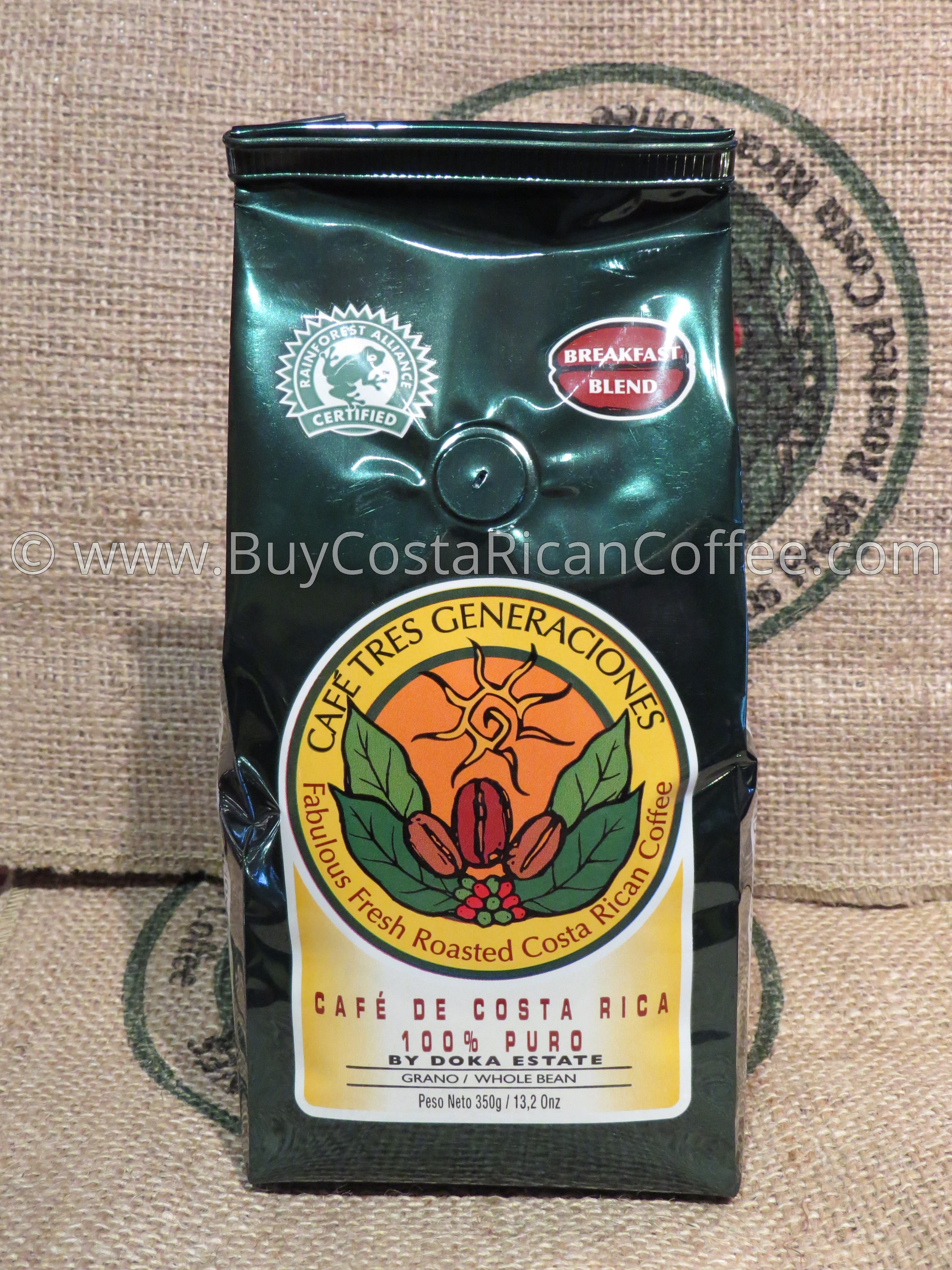 Whole Bean Breakfast Blend 350g - Buy Costa Rican Coffee